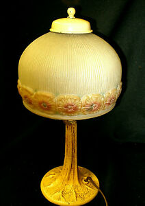 Antique Arts Crafts Boudoir Lamp Puffy Glass Reverse Painted Shade Tree Base
