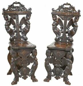 2 Ornate Italian Renaissance Revival Carved Chairs 19th Century 1800s
