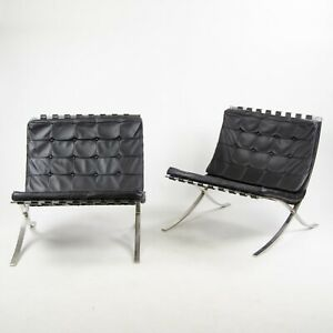 1950 S Museum Quality Knoll Mies Van Der Rohe Barcelona Chairs Stainless Pair