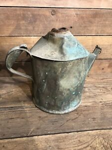 Antique Copper 3 5 Lbs Flower Pot Water Can Primitive Green Distillery Farm Gas