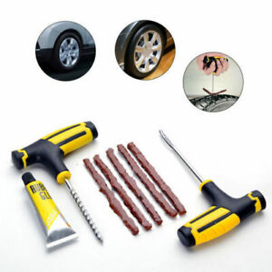 Car Tubeless Tyre Tire Puncture Repair Plug Kit Needle Patch Fix Tool Set