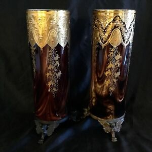 Antique Moser Pair Huge Glass Vases Bronze Bottom Gold Enamel Decoration