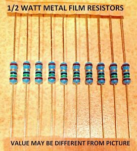 10 Pcs 1 2 Watt 1 Metal Film Resistors Various Values You Choose