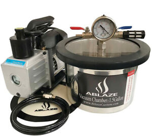 Ablaze 1 5 Gallon Stainless Steel Vacuum Degassing Chamber And 3 Cfm Single Kit