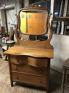 Vintage Oak Bow Front Dresser With Mirror Antique Original