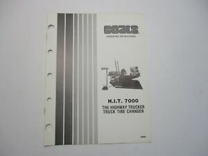 Used Coats H I T 7000 Truck Tire Changer Operating Instructions