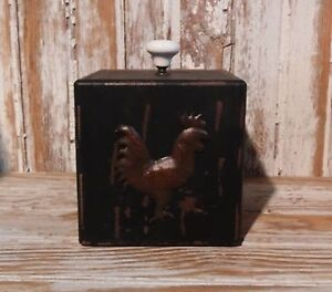 Primitive Black Painted Wooden Box Rooster For Cottage Or Country Home Decor