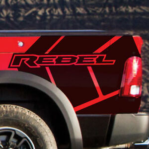 2017 18 Dodge Ram Rebel Stripe Graphic Grunge Logo Truck Vinyl Decal Bed Pickup