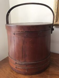 Large Antique Vtg Firkin Sugar Bucket Handle Lid Sewing Box