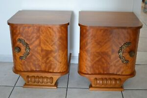 Beautiful Vintage French Pair Of Art Deco Nightstand Bedside Cabinet