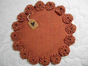 Primitive Red Homespun Fabric Candle Mat Table Runner Topper Yoyo Doily 1