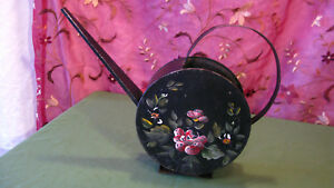 Unusual Cool Black Metal Watering Can With Tole Painting