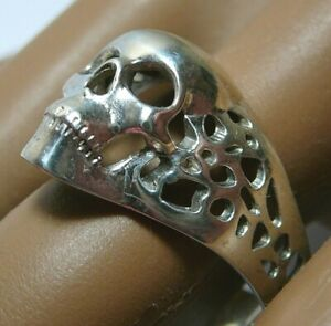 Vintage Russia Sterling Silver 950 Skull Ring