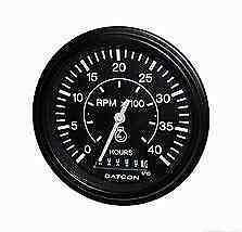 Datcon Heavy Duty Tachometer With Hour Meter 12 Or 24 Volt 4000 Rpm Pn 103684
