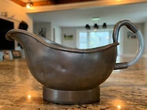 19th Century Chinese Pewter Gravy Boat With Jade Handle