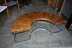 Mcm Milo Baughman Thayer Coggin Rosewood Chrome Circular Sofa Coffee Table