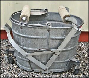 Vtg Galvanized Steel White Mop Bucket Wood Rollers 3 Casters Handle 6 Gallons