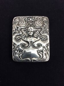 Antique Art Nouveau Sterling Silver Match Safe Vesta Woman Hallmarked