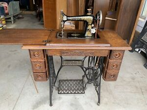 Antique Singer Treadle Sewing Machine 66 Fancy Carved 7 Drawer