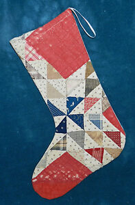 Primitive Antique Vintage Cutter Quilt Christmas Stockings Blue Red 16 32