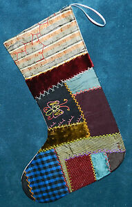 Awesome Antique Vintage Crazy Quilt Christmas Stocking Cutter Quilt Cq8