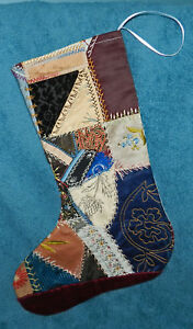 Awesome Antique Vtg Crazy Quilt Christmas Stocking Cutter Quilt Thistle Cq25