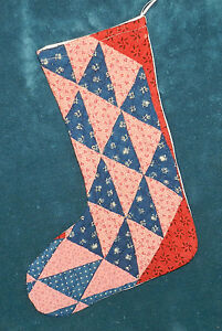 Primitive Antique Vintage Cutter Quilt Christmas Stockings Blue Red 16 7