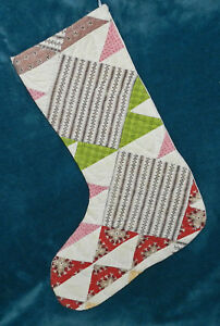 Gorgeous Antique Vintage Cutter Quilt Christmas Stocking 17 19