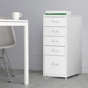 Ikayaa Metal File Mobile Cabinet 5 drawers Filing Pedestal Home Office Cabinet