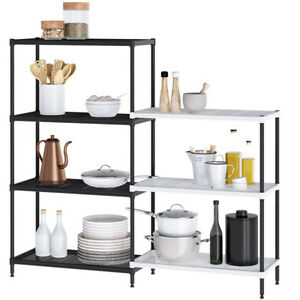 Adjustable Wire Shelving 4 3 Tier Metal Storage Rack Shelf Shelves Unit Kitchen