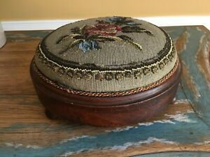 Victorian Needlepoint Bead Work Floral Small Round Foot Stool Late 1800 S