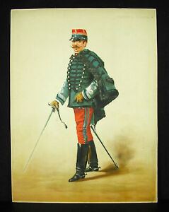 A Legras Captain Of Hussars Chromolith C1880 Uniform Military Militaria Xixth