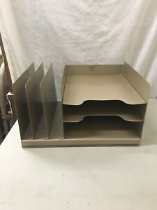 Curmanco Vintage Brown Metal Desk Top In Out Box 3 Tier File Folder Industrial