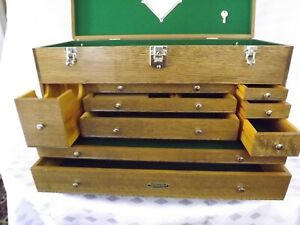 H Gerstner Sons Oak Tool Chest Style No O 72 9 Drawer With Two Keys
