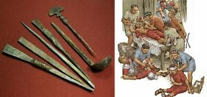 Ancient Roman Medical Set Six Tools Bronze Probe Scalpel Spoon Legionary Medicus