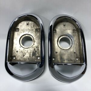 1951 Lincoln Tail Light Taillights Bezels Pair Nos