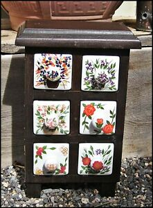 Vtg Spice Tea Apothecary Wood Cabinet W 6 Hand Painted Porcelain Drawers