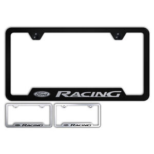 Ford Racing Name And Logo Stainless Steel Cutout Bottom License Plate Frame