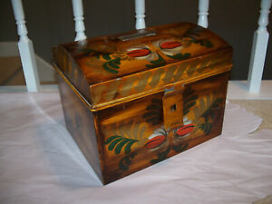 Vintage Toleware Painted Dome Top Document Box Tole Ware Signed Geo Burton
