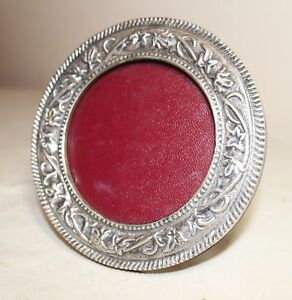 Vintage Ornate Hand Tooled 950 Sterling Silver Wood Circular Picture Table Frame