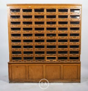 Antique Glass Front 54 Drawer Locking Apothecary Cabinet With Keys