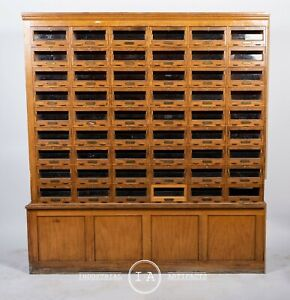 C 1920 Glass Front 54 Drawer Locking Apothecary Cabinet With Keys