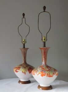 Mid Century Modern Fat Lava Vintage Multi Color Lamp Pair