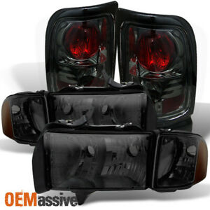 Fit 1999 2002 Dodge Ram Sport Model Pickup Smoked Headlights Tail Lights Lamps