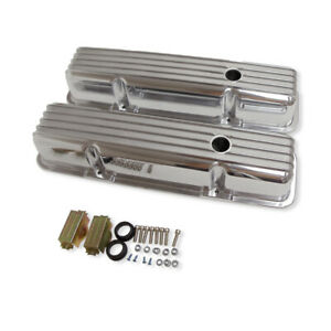 For 58 86 Sbc 327 350 383 400 Tall Finned Aluminum Valve Covers W Hole Polished