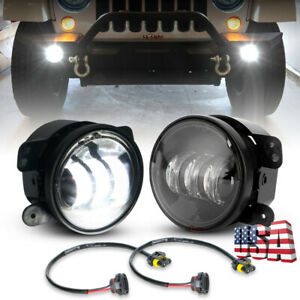 Pair 4 Inch 60w Led Fog Lights Driving Lamps For 2018 Jeep Wrangler Jl Rubicon