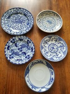 Antique Blue White Chinese Dishes Plates Lot Of 5 Rare China Blue 18th