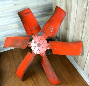 Vintage Windmill Fan 6 Blade Red Old Farm House Or Industrial Decor Salvage