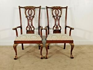 Maitland Smith Pair Of Oversized Chippendale Mahogany Ball Claw Arm Chairs