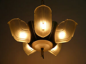 1930 S Streamlined Art Deco 6 Light Slip Shade Chandelier